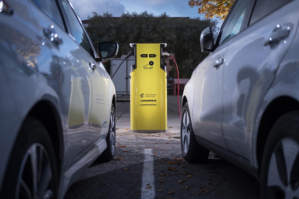 Sähköautojen latauspiste. Kuva: Kokkolan Energia
